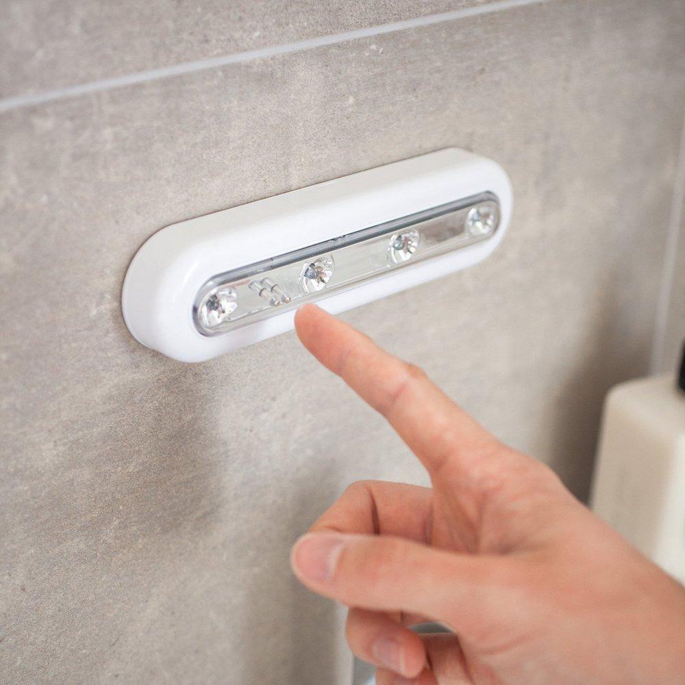 2 x Touch luz, blanco frío DIY Stick de 4 LED lámpara táctil, funciona con pilas LED noche luces para armarios, áticos, garajes, coche, casetas, ...