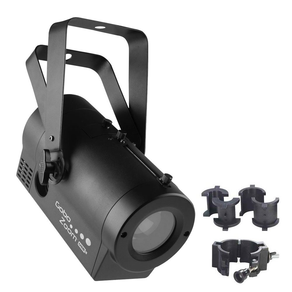 Chauvet DJ Gobo Zoom USB LED Gobo Projector Lighting Effects Fixture with CLP-10 Light-Duty Adjustable O Clamp