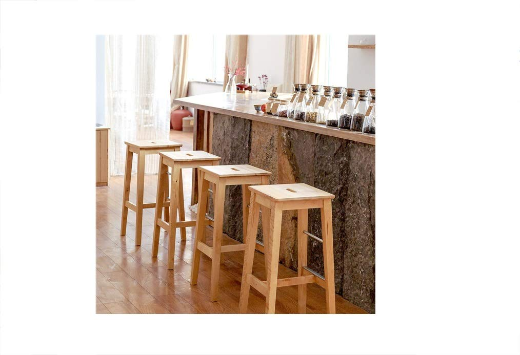 AO-stools Solid Wood Stool High Bar Dining Chair Portable Buckle Small Square Stool 74393336cm by AO (Image #4)