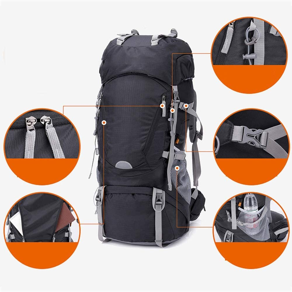 HW-CM Outdoor Camping Hiking High,Capacity Water Resistant Travel Trekking Sports Rucksacks WithCover,For Mens Women Mountaineering Travel OutdoorBackpack,large rucksack Black