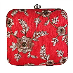 Royal Pitarah Women's Embroided Square Box Clutch Red 6