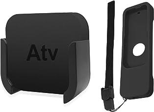 Soporte de televisión para Apple TV a y 4K 5A generación, sourceton soporte de pared soporte para Apple TV a/4K 5A generación, Bonus Funda protectora para Apple TV 4K/4A generación Siri mandos a distancia