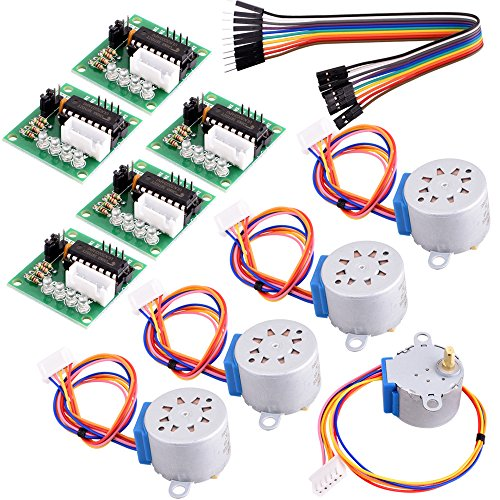 Longruner 5x Geared Stepper Motor 28byj 48 Uln2003 5v Stepper Motor Uln2003 Driver Board for arduino (Stepper Motor + Driver Board + Cable)