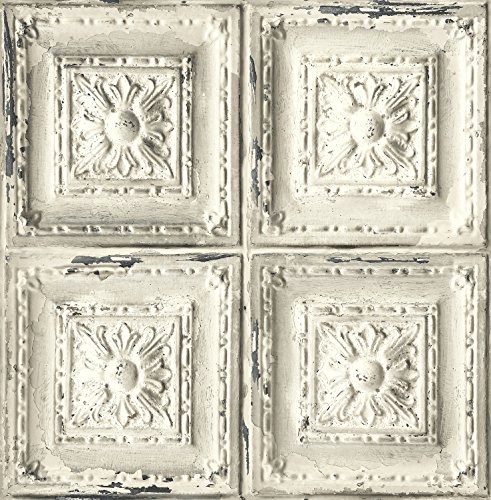 Distressed Ceiling Tile Wallpaper. (White & (Ceiling Texture Wallpaper)