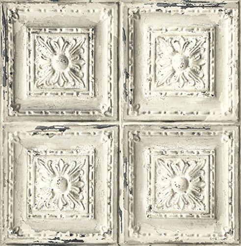 Tin Tile Wallpaper - Distressed Ceiling Tile Wallpaper. (White & Grey)