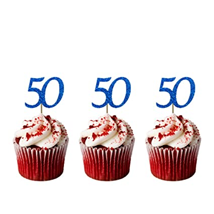LissieLou Number 50th Birthday Cupcake Toppers