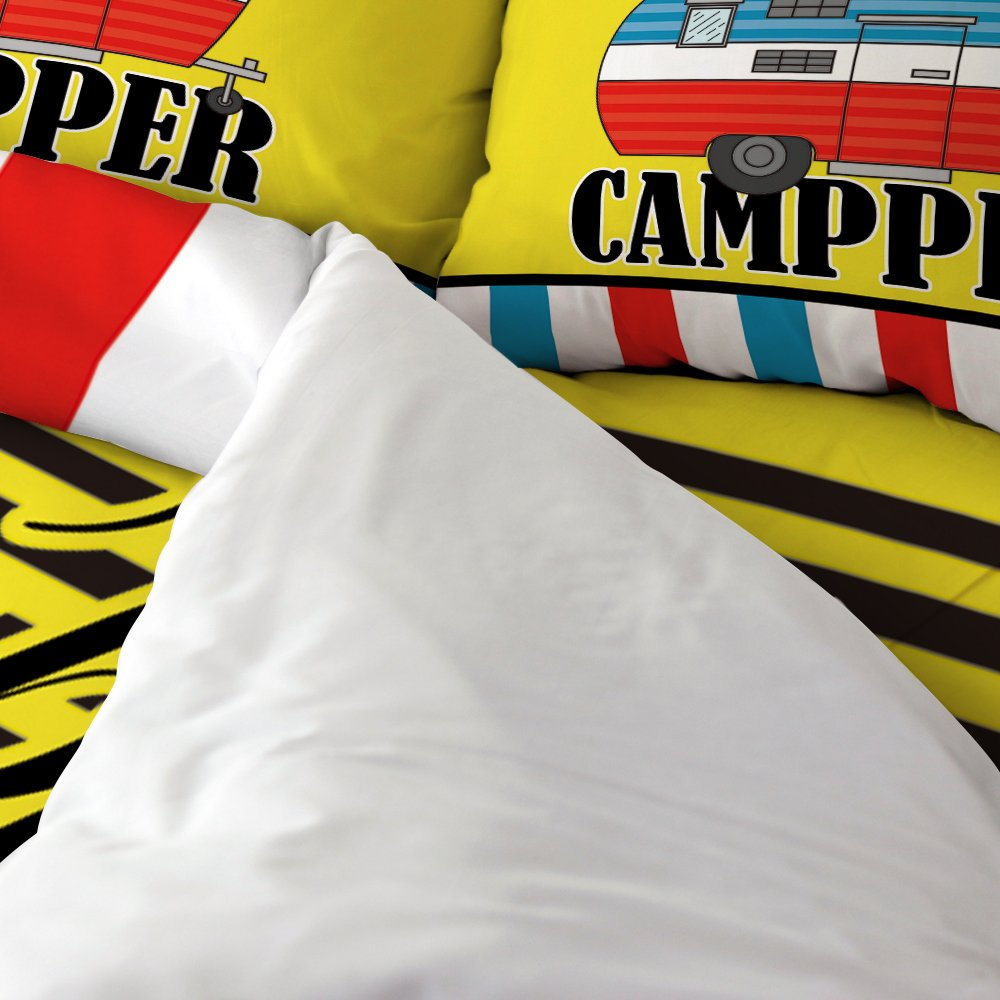 Happy Camper Camping Cartoon Design 1 Flat Sheet 1 Duvet Cover and 2 Pillow Cases Libaoge 4 Piece Bed Sheets Set
