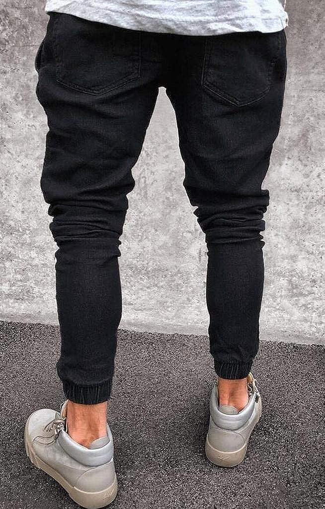 WAWAYA Mens Ruched Mid Rise Stretchy Casual Slim Fit Jogging Jeans Denim Pants