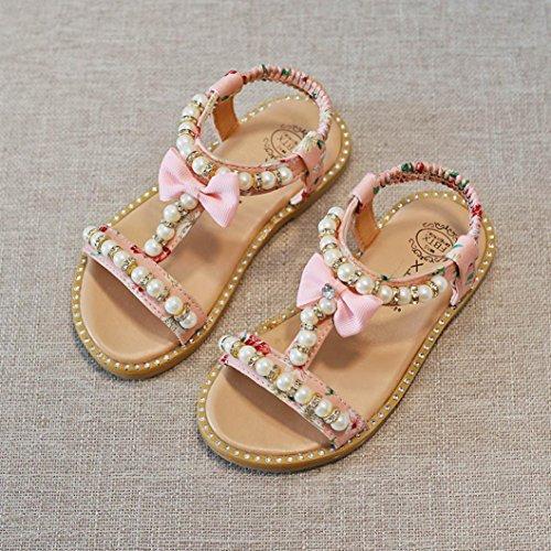 Fheaven Baby Jenter Sandaler Bowknot Perle Krystall Romerske Sandaler  Prinsesse Sko Rosa ...