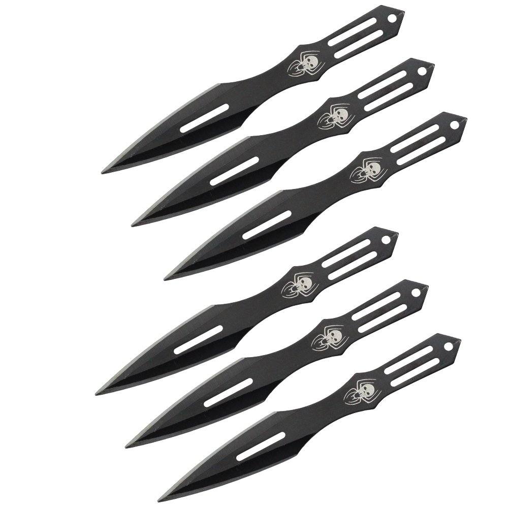 Aeroblades, 6PC 5.5″ Throwing Knife Set With Pouch – BLACK WIDOW SPIDER