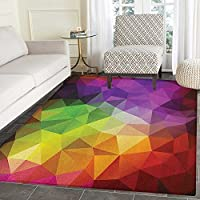 Abstract Rugs for Bedroom Colorful Abstract Geometric Shapes with Triangular Polygons Creative Artistic Circle Rugs for Living Room 4x6 Multicolor