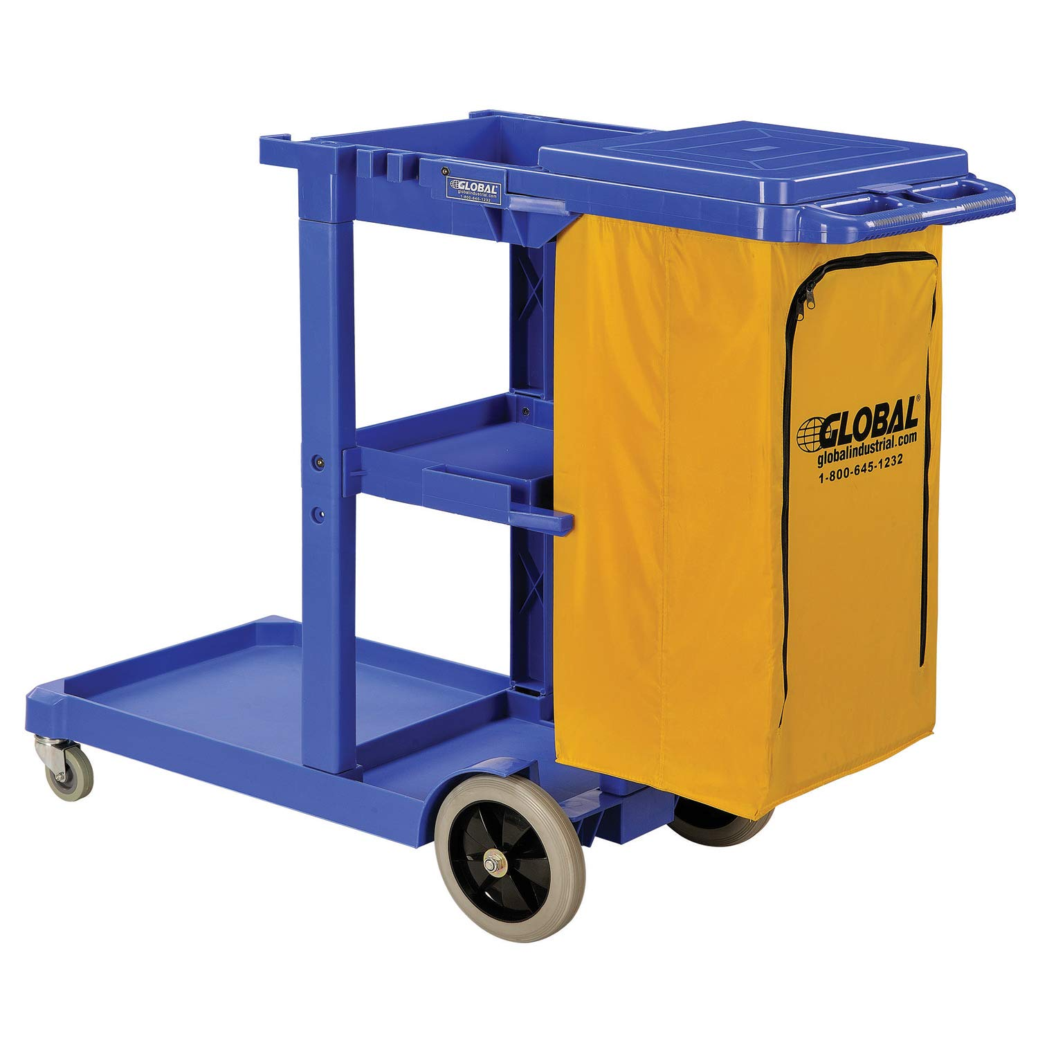 Janitor Cart Blue with 25 Gallon Vinyl Bag by Global Industrial