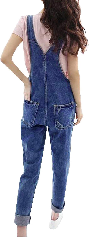 De feuilles Damen Latzhose Jeans Hosen lang Denim Overall Jumpsuit Klassisch Jeans Gerades Bein mit 5 Taschen Regular Fit Tr/äger Einstellbar Sommer Fr/ühling