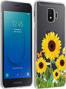 Gufuwo Clear Slim Designed for Galaxy J2 2019 Case,Galaxy J2 Pure/J2 Core/J2 Shine/J2 Dash/J260 Phone Case, Shock-Absorption Floral Flexible Soft TPU Cover for Samsung J2 Core (Sunflower)