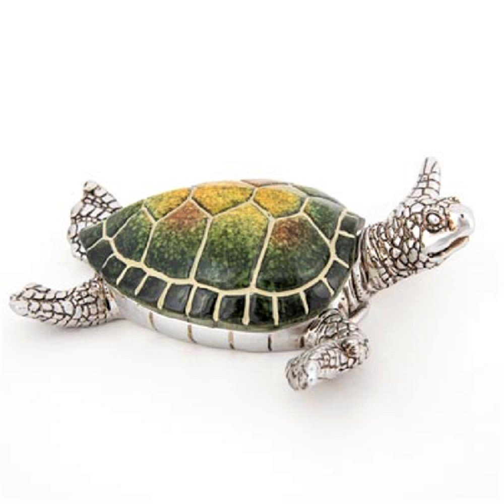 Sea Turtle Trinket Box Green Turtle with Silver Pewter Box Animal Figurine
