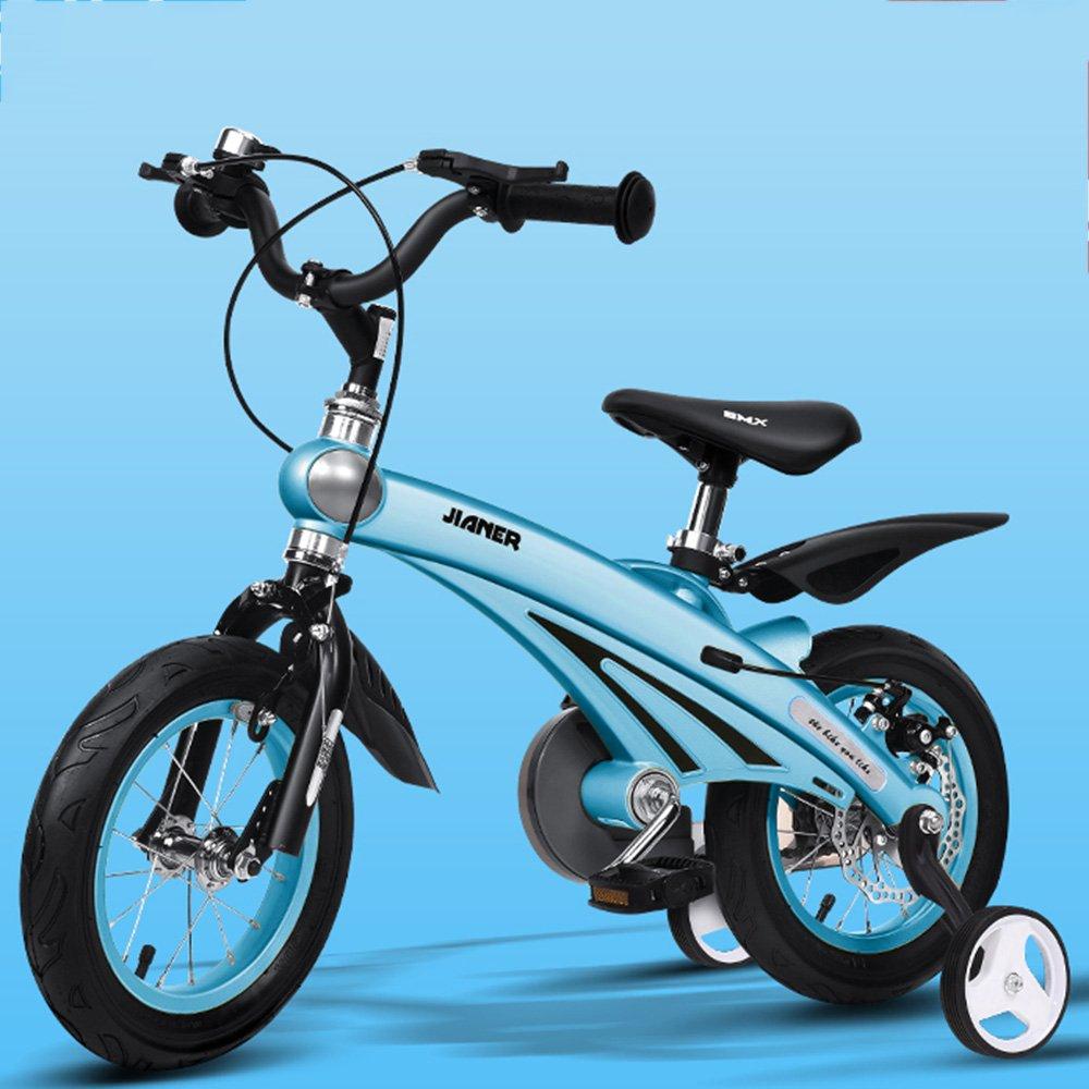 YANFEI 子ども用自転車 子供用自転車211歳の子供に適したマグネシウム合金のボディーバイク 12/14/16インチの三輪車 子供用ギフト B07DZF143T 12Inch|青 青 12Inch