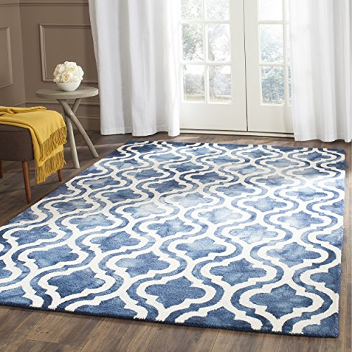 Safavieh Dip Dye Collection DDY537N Handmade Geometric Moroccan Watercolor Navy and Ivory Wool Area Rug (8' x (Wool Area Accent)