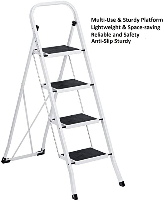 Safety Portable Folding 4 Step Ladder Steel Stool Heavy Duty Lightweight