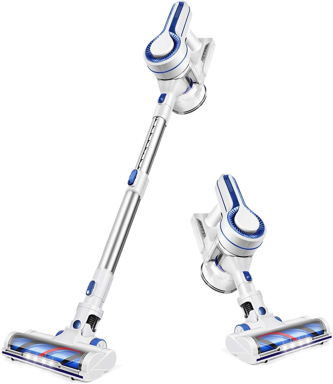 APOSEN Cordless Vacuum Cleaner 18KPa Powerful Suction 250W Brushless Motor 4 in 1 Stick Handheld Vacuum for Home Hard Floor Carpet Car Pet H250 (White)