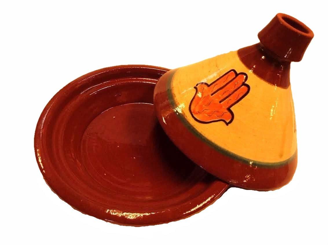 Moroccan Glazed Terracotta Cooking Tagine Tajine Lucky Hand (Khamsa Hand) (Large)