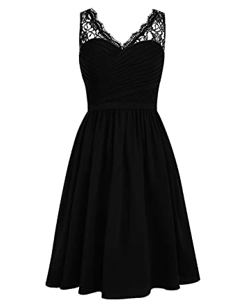 2742e5c308a5 SDRESS Women's Lace Straps Pleated V-Neck Short Chiffon Bridesmaid Dress  Black Size 2