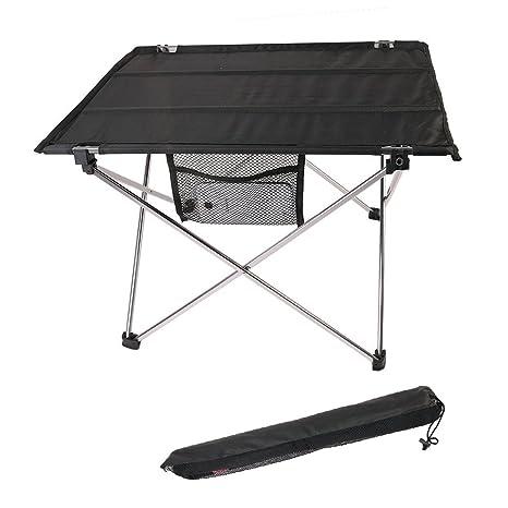 Mesa de camping plegable ultra-ligera, aleación de aluminio, portá