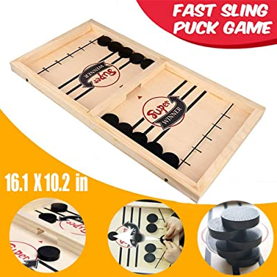 Table Desktop Battle 2 in 1 Ice Hockey Game,Funny Classic Battle Board Games for Adults or Kids,Sports Board Game,Fast Sling Puck Game,Winner Board Games Toys Party Home Interactive Games Toys (Small): Toys & Games