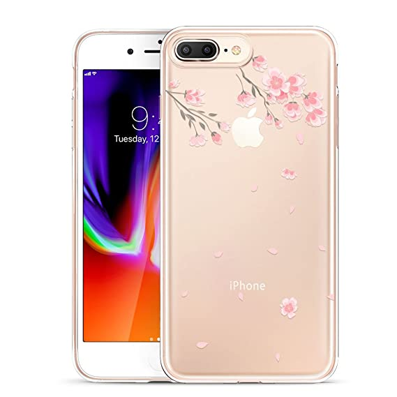 new style 20645 03998 ESR Case for iPhone 8 Plus,Soft Cute Cartoon Pattern Design [Supports  Wireless Charging] [Slim Fit] TPU Protective Cover for iPhone 8 Plus(Cherry  ...