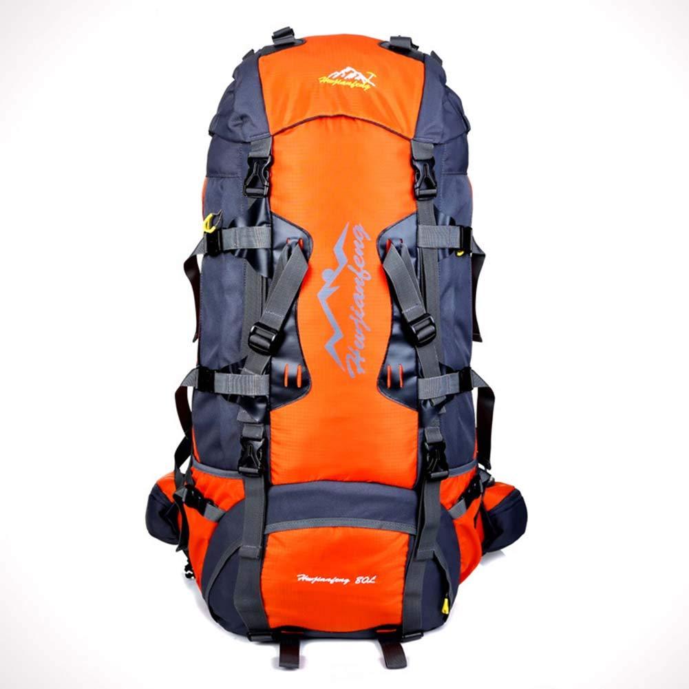 Orange  sac à dos 80L Multifonctionnelle Voyage Sac à Dos Adulte Sac d'alpinisme en Plein air pour Le Camping Chasse