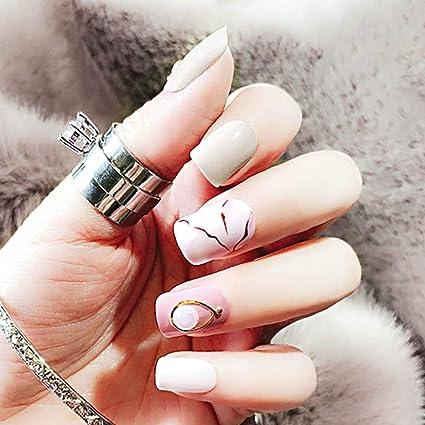 Fairvir uñas postizas de mármol artificial, uñas postizas de ...