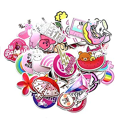 Pink Lollipop Laptop Sticker Pack Cute Girl Rainbow Unicorn Waterproof Vinyls Sticke Decals for Kids Cars Motorcycle Bicycle Skateboard Luggage Bumper Hippie Laser Stickers (50Pcs Pink Sticker): Computers & Accessories