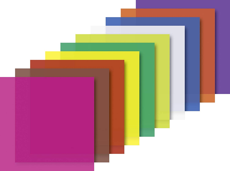 Heyda 204875511 - Fogli pieghevoli trasparenti, 10 x 10 cm, 10 colori assortiti