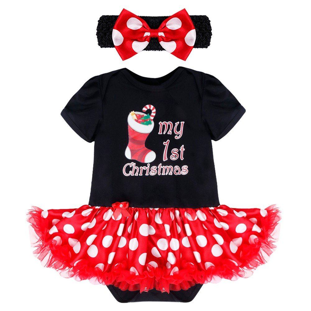 iEFiEL Newborn Baby Girls Romper Tutu Dress First Infant Christmas Outfit Party Costume 3 Months, White/&Red