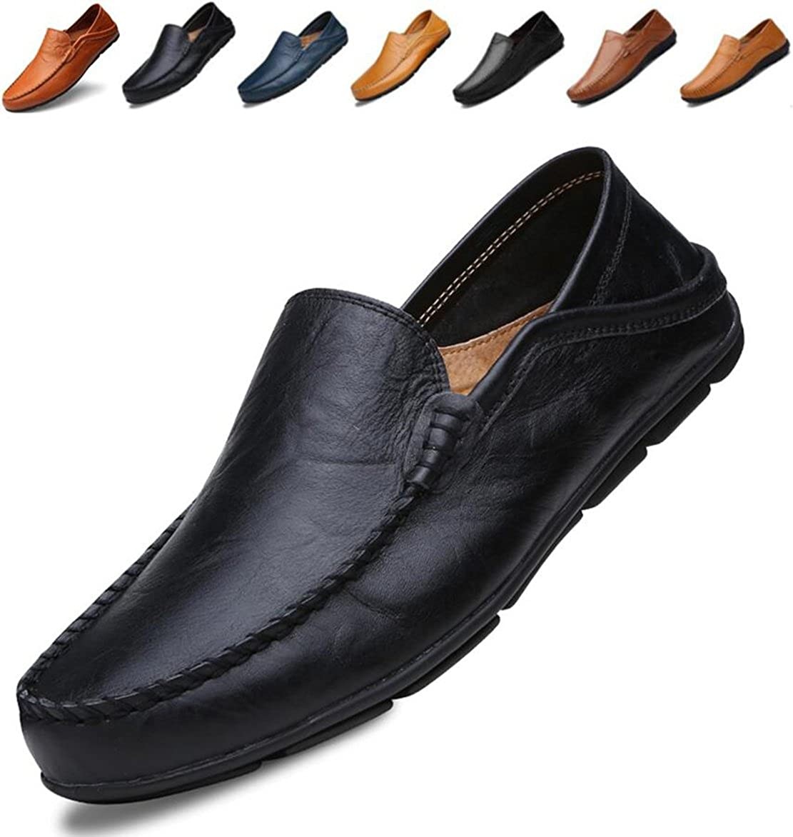 c892fff186a24 Go Tour Men's Premium Genuine Leather Casual Slip on Loafers Breathable  Driving Shoes Fashion Slipper