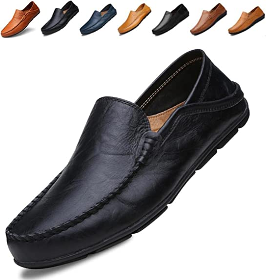 Go Tour Men's Premium Genuine Leather Casual Slip On Loafers Breathable Driving Shoes Fashion Slipper Black 40