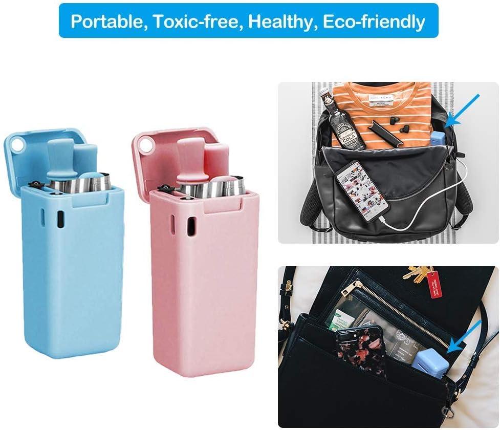 Negro + Rosa LOBKIN Pajitas Plegables de Acero Inoxidable Reutilizable con Cepillo de Limpieza y Llavero 2PCS