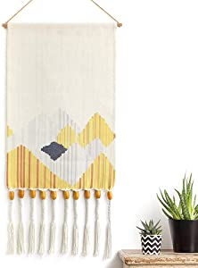 KHOYIME Hand Woven Pendant Tapestry Yellow&Beige Macrame Wall Hanging Aztec Home Decor Boho Chic Abstract Mountain Wall Art Decorative Accessory for Apartment Dorm Room Backdrop (Yellow-Mountain-)