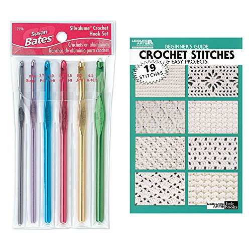 Crochet Hook Set 6 pcs and 19 Crochet Stitches Book - Beginners Guide - Bundle by Susan Bates and Leisure Arts