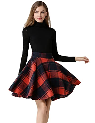 Tanming Women's High Waisted Wool Check Print Plaid Aline Skirt (Medium, Red TM2)
