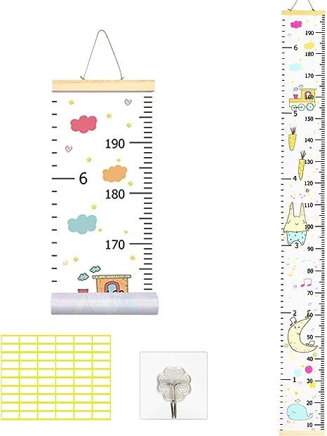 TAZEMAT Tabla de Crecimiento Infantil Gráfica de Altura para Niños Niñas Bebés Regla Medidora Animales Colgar en la Pared Decoración de Dormitorio Guardería Lienzo de Estatura Extraíble (200 * 20cm): Amazon.es: Bebé