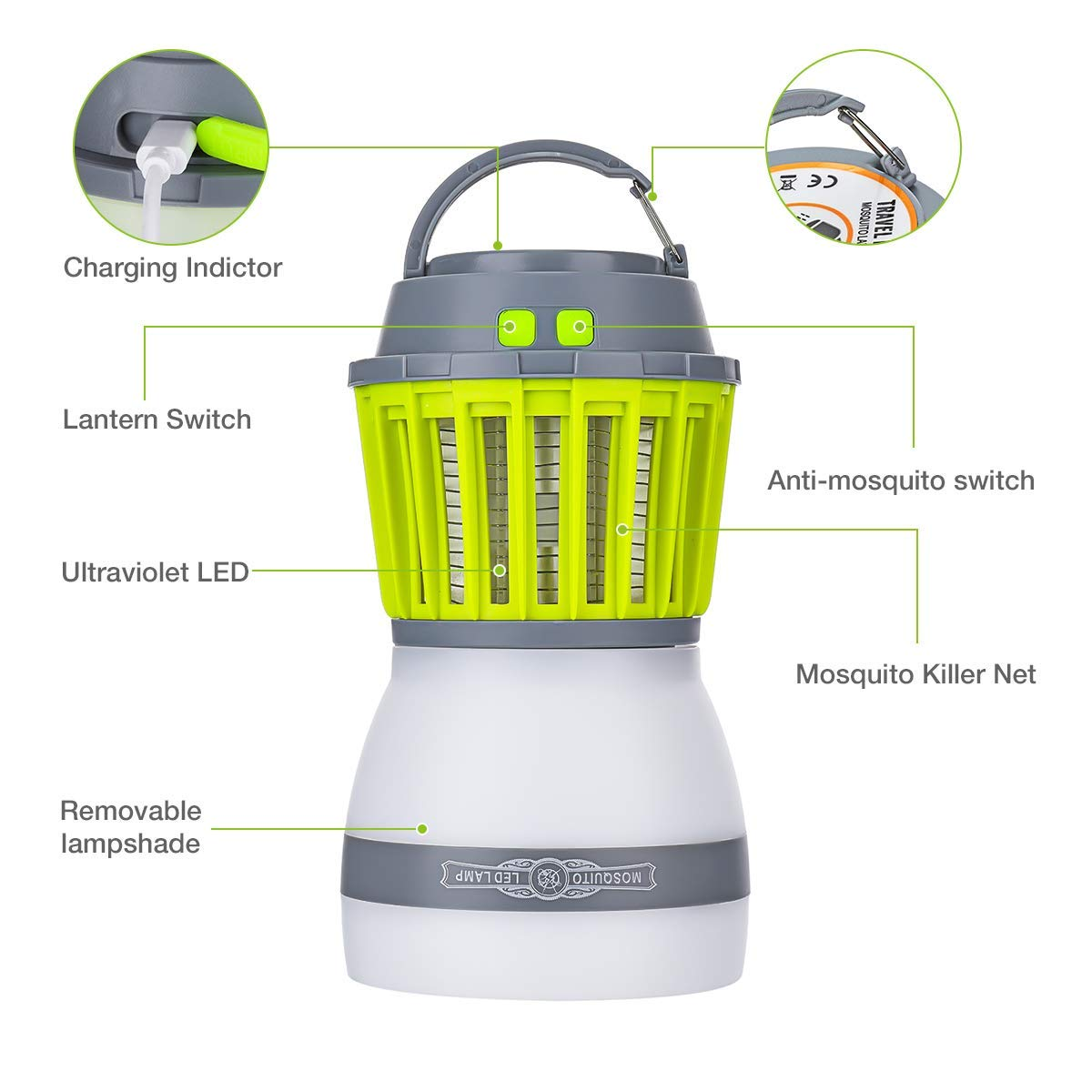 2 in 1 Camping Lamp Mosquito Killer, USB Recharge Mosquito Killer Lamp, IP67 Waterproof Anti-Mosquito LED Latern, 2000mAh Portable Tent Lamp for Indoor and Outdoor Use