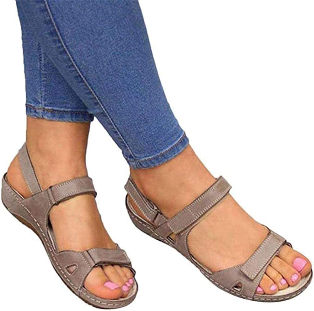 Casual Flat Arch Support Wedge Shoes for Summer Outdoor Hiking Walking Beach Comfy Hook and Loop Closure Sport Sandal Womens Orthopedic Open Toe Leather Sandals