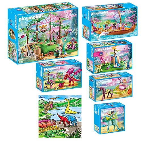 - DimpleChild KTPM85868 Playmobil Magical Fairy Forest Mega Set Indoor Games with Dimple Washable Coloring Mat, Multicolor