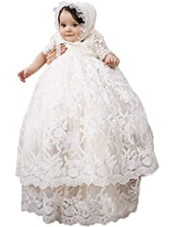 59cc7b311 ShineGown Christening Dresses for Baby Girls with Bonnet Long Skirt Floral  Lace Ivory Christening Gown Lace