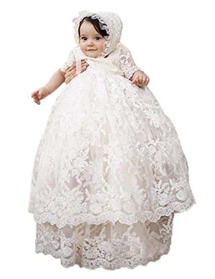 49375197d3a7 ShineGown Christening Dresses for Baby Girls with Bonnet Long Skirt ...