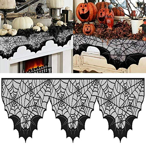 Boxwinds Black Lace Bats Fireplace Mantel Scarf Unique Fan-Shaped Edge Spiderweb Fireplace Mantle Scarves Cover for Spooky Halloween for Door, Table, Stairs, Garden Fence 51x203cm/20x80in