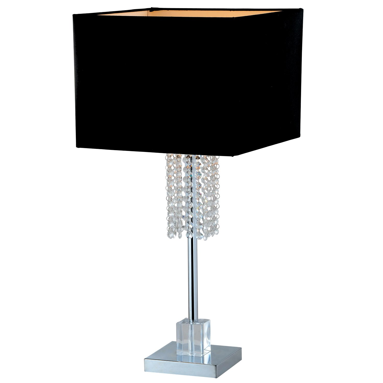 Artiva USA A501101 Adelyn Square Modern Crystal Table Lamp, 27'', Chrome/Black