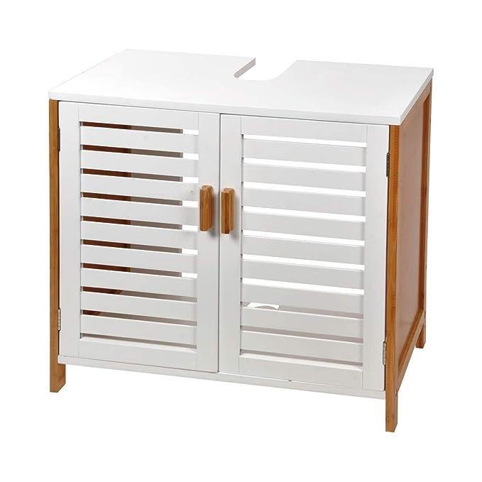 MaisonMaligne Mueble Lavabo Madera Bambú y MDF - Mueble Baño Auxiliar con 2 Puertas Ideal para Organizar Toallas - Color Negro - Medidas 60 x 30 x 60 cm: ...
