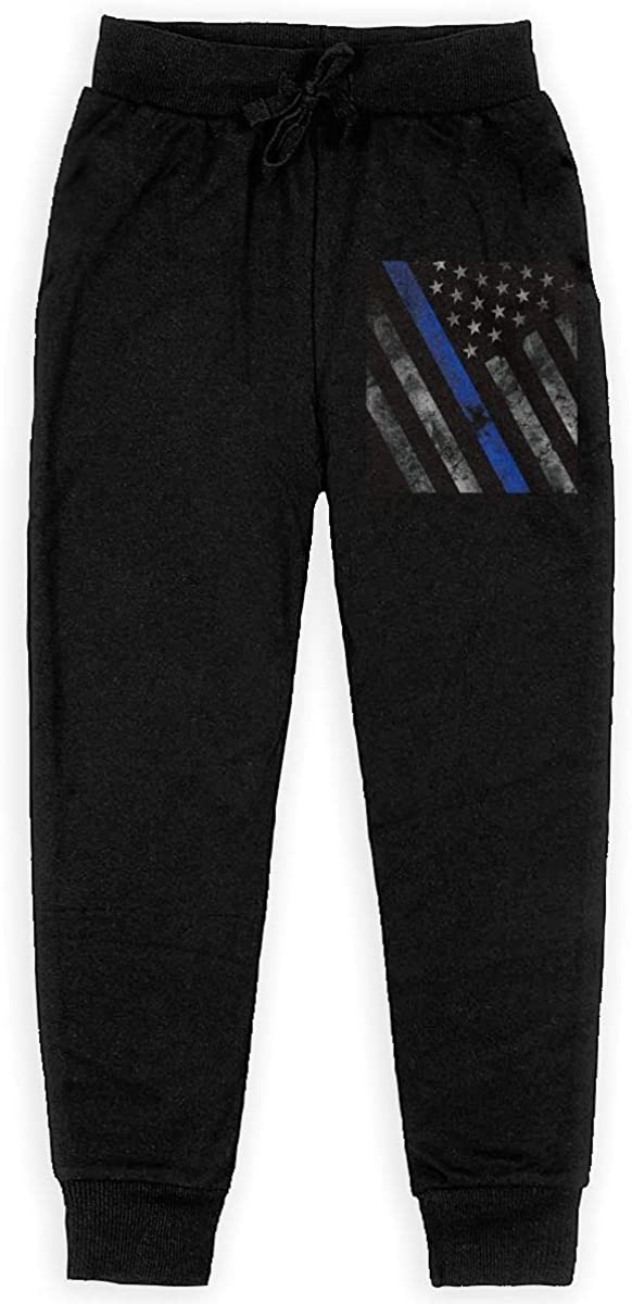 Boys Sweatpants Thin Blue Line Police Flag Joggers Sport Training Pants Trousers Cotton Sweatpants for Youth