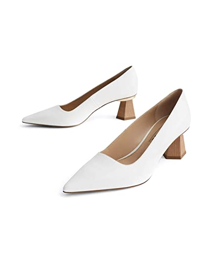 649dd8ecd7d41 Uterque Women's Leather Court Shoes with Wooden Heels 4123/051 ...
